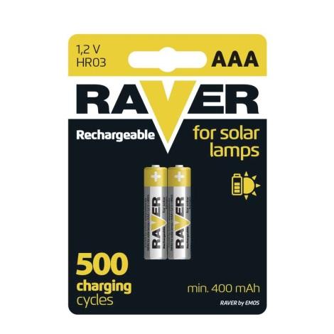 2 Stk. wiederbeladbare Batterien AAA RAVER NiMH/1,2V/400 mAh