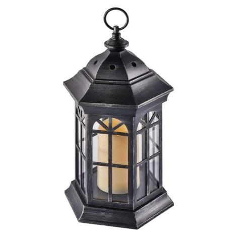 LED dekorativer Laterne 1xLED/0,6W/3xAAA schwarz