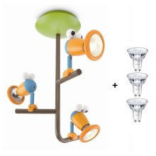 Massive 56313/55/10 - LED Kinder-Spotlight BIRDEY 3xGU10/3,5W/230V