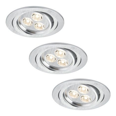 Paulmann 92530 - SET 3x LED/3W Badezimmer Einbauleuchte PREMIUM LINE 230V