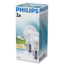SET 2x dimmbare Halogenglühbirne E27/42W/230V - Philips