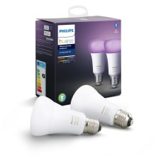 SET 2x LED Dimmbare Glühbirne Philips HUE WHITE AND COLOR AMBIANCE E27/9W/230V