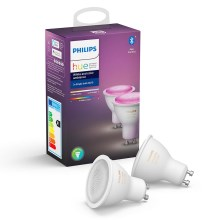 SET 2x LED Dimmbare Glühbirne Philips HUE WHITE AND COLOR AMBIANCE GU10/5,7W/230V