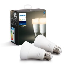 SET 2x LED Dimmbare Glühbirne Philips HUE WHITE E27/9W/230V