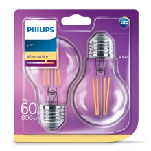 SET 2x LED Glühbirne Philips E27/7W/230V 2700K