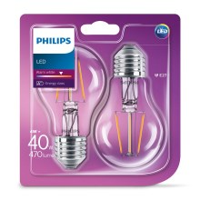 SET 2x LED Glühbirne VINTAGE Philips E27/4W/230V 2700K