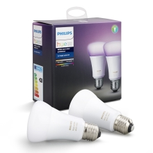 SET 2x LED RGB dimmbare Glühbirne Philips HUE WHITE AND COLOR AMBIANCE E27/10W/230V