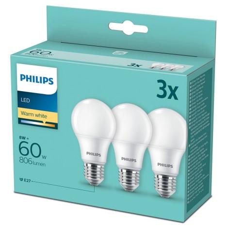 SET 3x LED Glühbirne Philips A60 E27/8W/230V 2700K