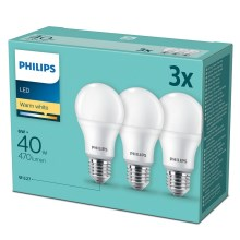 SET 3x LED Glühbirne Philips E27/6W/230V 2700K