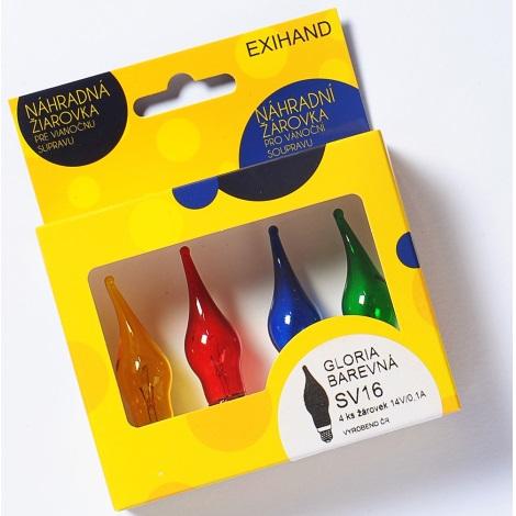 Ersatzglühbirnen Für Weihnachtsbeleuchtung.Set 4x Ersatzglühbirnen Gloria E10 14v 0 1a Verschiedene Farben
